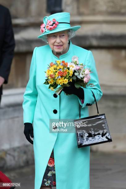 Queen Elizabeth II leaves after attending the Easter Sunday service at St George's Chapel at Windsor Castle on April 16 2017 in Windsor England