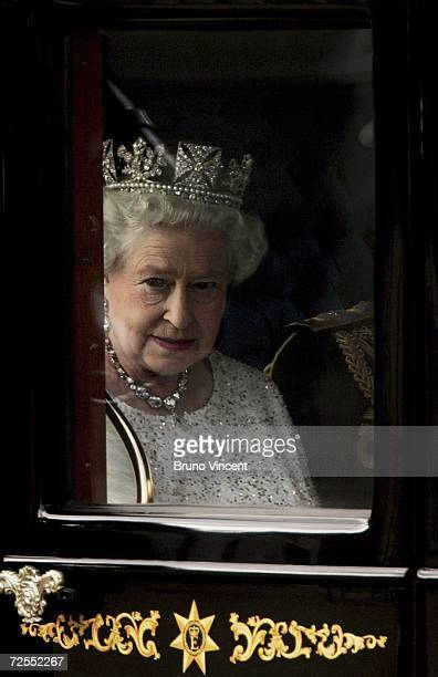Queen Elizabeth II leaves Buckingham Palace on route to the Houses of Parliament for the state opening on November 15 2006 in London The Queen...