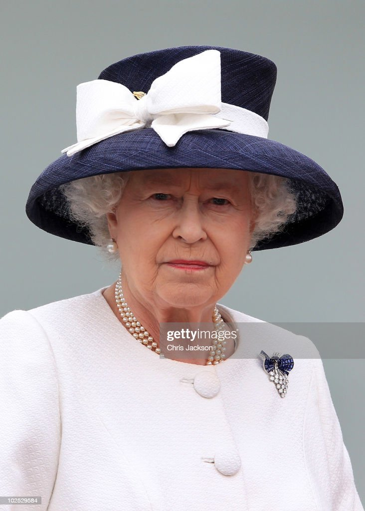 Queen <a gi-track='captionPersonalityLinkClicked' href=/galleries/search?phrase=Elizabeth+II&family=editorial&specificpeople=67226 ng-click='$event.stopPropagation()'>Elizabeth II</a> leaves HMCS St John's after the International Fleet Review on June 29, 2010 in Halifax, Canada. The Queen and Duke of Edinburgh are on an eight day tour of Canada starting in Halifax and finishing in Toronto. The trip is to celebrate the centenary of the Canadian Navy and to mark Canada Day. On July 6th The royal couple will make their way to New York where the Queen will address the UN and visit Ground Zero.
