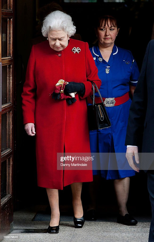 Queen Elizabeth II leaves hospital after a spell of gastroenteritis at King Edward VII Hospital on March 4, 2013 in London, England.