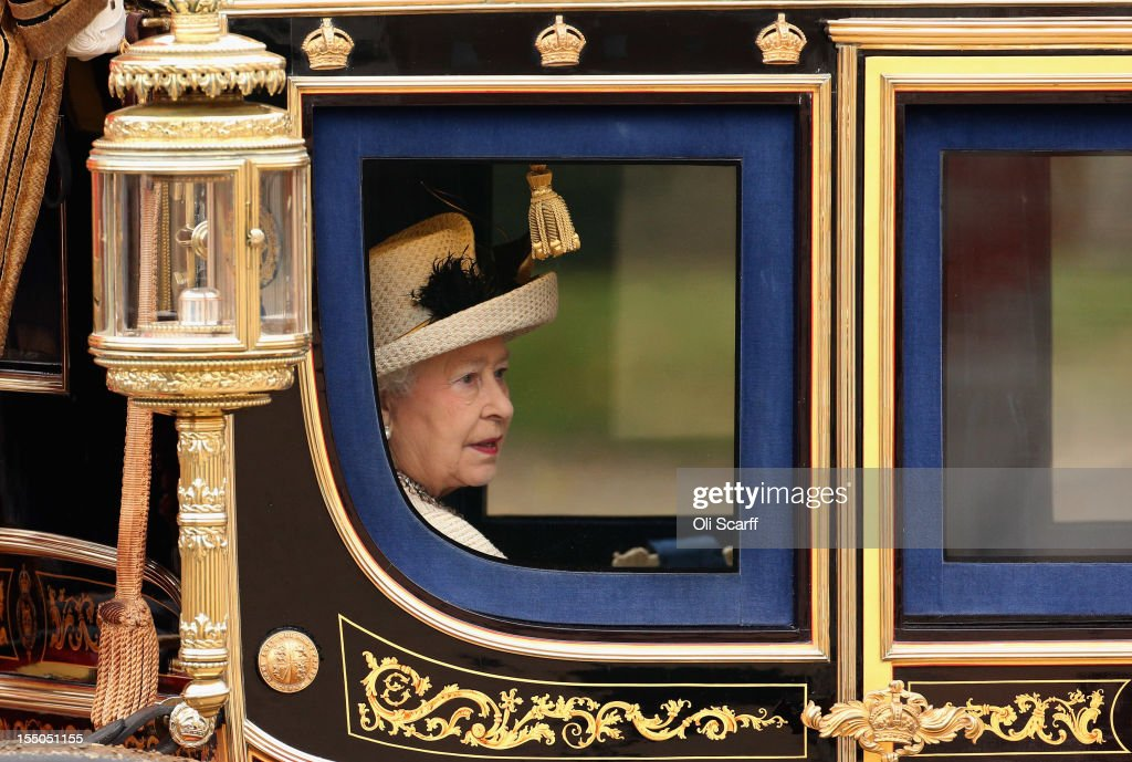 Queen <a gi-track='captionPersonalityLinkClicked' href=/galleries/search?phrase=Elizabeth+II&family=editorial&specificpeople=67226 ng-click='$event.stopPropagation()'>Elizabeth II</a> leaves in the Irish State Coach following a Ceremonial Welcome in Horse Guards Parade at the start of Susilo Bambang Yudhoyono's, the President of the Republic of Indonesia, State Visit to the UK on October 31, 2012 in London, England. During President Yudhoyono and his wife's three day State Visit to the UK they will stay in Buckingham Palace and meet with members of the Royal Family, Prime Minister David Cameron and lay a wreath at the Grave of the Unknown Warrior in Westminster Abbey.
