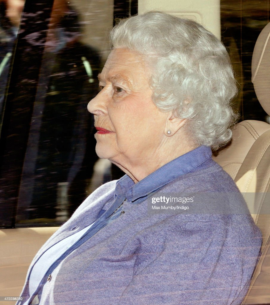 Queen Elizabeth II leaves Kensington Palace after visiting her newborn Great Granddaughter Princess Charlotte of Cambridge on May 5, 2015 in London, England. The Duke & Duchess of Cambridge's daughter was born at 8:34am on May 2, 2015, weighing 8lbs 3 oz and is fourth in line to the throne.