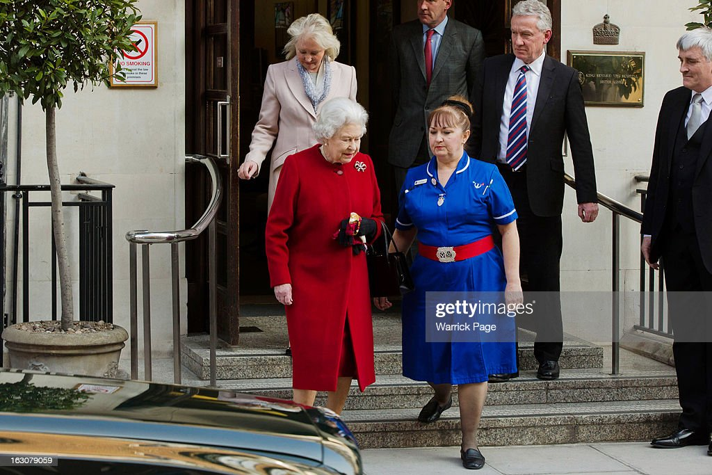 Queen Elizabeth II leaves King Edward II Hospital after being admitted with symptoms of gastroenteritis at King Edward VII Hospital on March 4, 2013 in London, England. The Queen left the hospital and returned to Buckingham Palace after being admitted on Sunday as a precautionary measure.