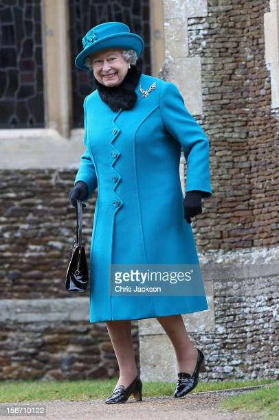 Queen Elizabeth II leaves St Mary Magdalene Church after attending the traditional Christmas Day church service on December 25 2012 in Sandringham...