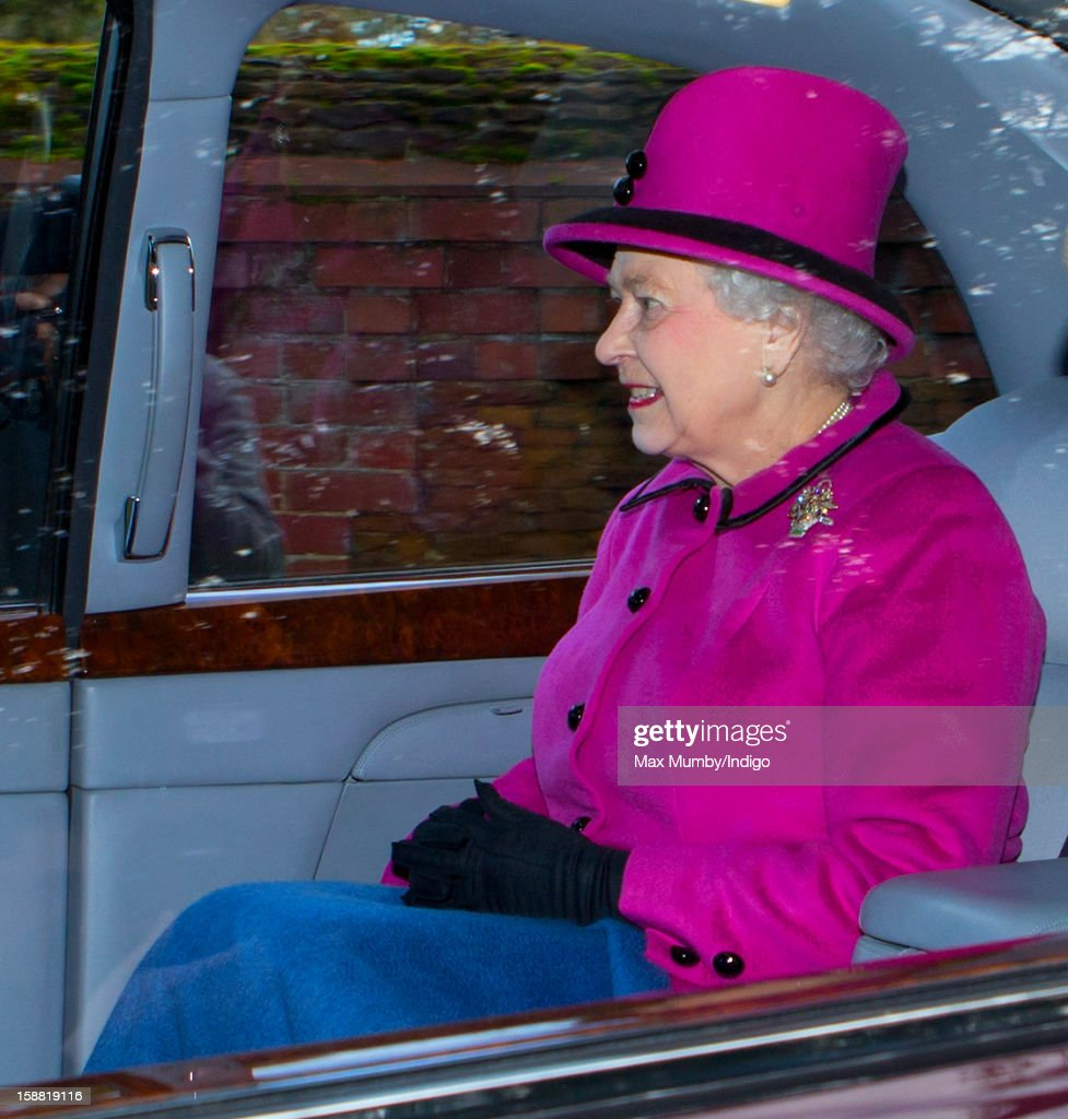 Queen <a gi-track='captionPersonalityLinkClicked' href=/galleries/search?phrase=Elizabeth+II&family=editorial&specificpeople=67226 ng-click='$event.stopPropagation()'>Elizabeth II</a> leaves St. Mary Magdalene Church, Sandringham in her Bentley car after attending Sunday service on December 30, 2012 near King's Lynn, England.