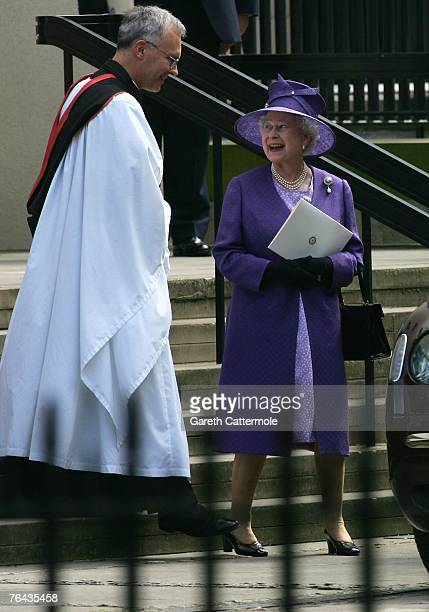 Queen Elizabeth II leaves the 10th anniversary memorial service for Diana Princess Of Wales held at the Guards Chapel on August 31 2007 in London...
