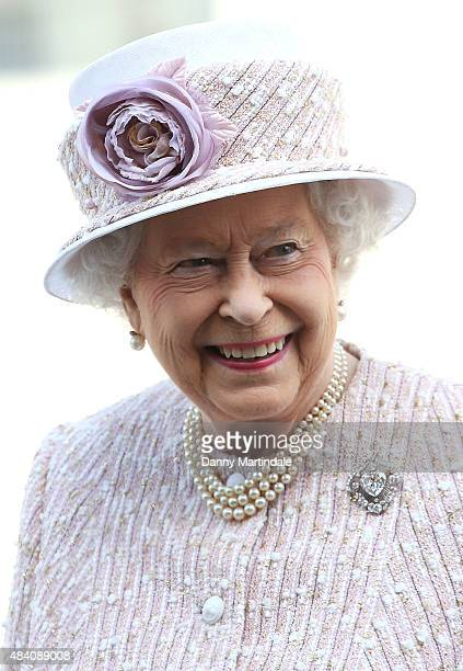 Queen Elizabeth II leaves the 70th anniversary of VJ Day service of commemoration at St MartinintheFields on August 15 2015 in London England