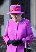 Queen Elizabeth II leaves the Christmas Day Service at Sandringham Church on December 25 2014 in King's Lynn England