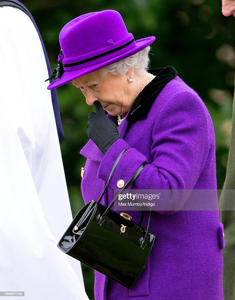 Queen Elizabeth II leaves the church of St Peter and St Paul in West Newton after attending Sunday service on February 03, 2013 near King's Lynn, England.