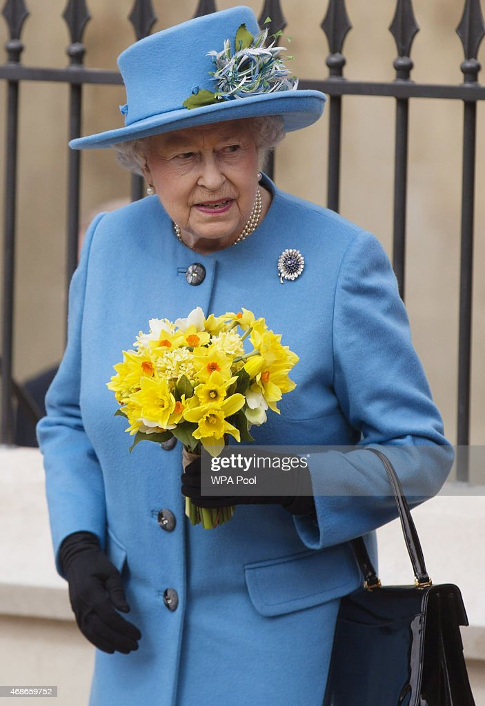 Queen Elizabeth II leaves the Easter Sunday service at St George's Chapel at Windsor Castle on April 5, 2015 in Windsor, England.