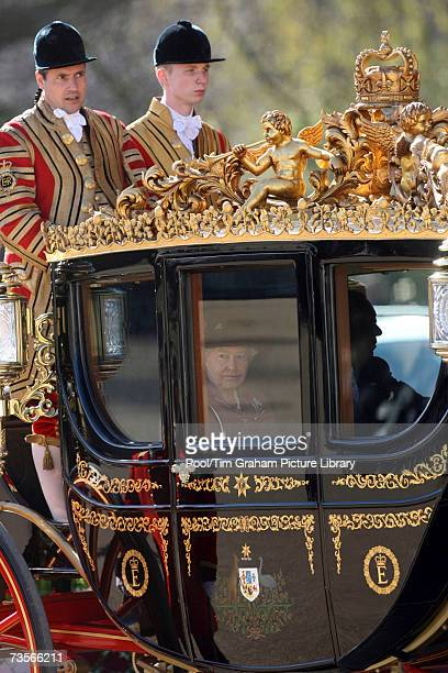 Queen Elizabeth II leaves the Horse Guards Parade with the President of the Republic of Ghana John Agyekum Kufuor in a royal carriage at the start of...
