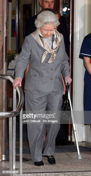 Queen Elizabeth II leaves the King Edward VII Hospital in central London after keyhole surgery to remove torn cartilage from her right knee * The...