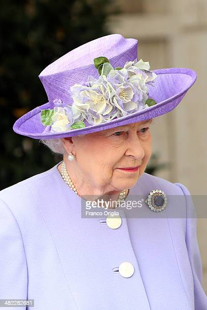 Queen Elizabeth II leaves the Paul VI Hall after a meeting with Pope Francis on April 3 2014 in Vatican City Vatican During their brief visit The...