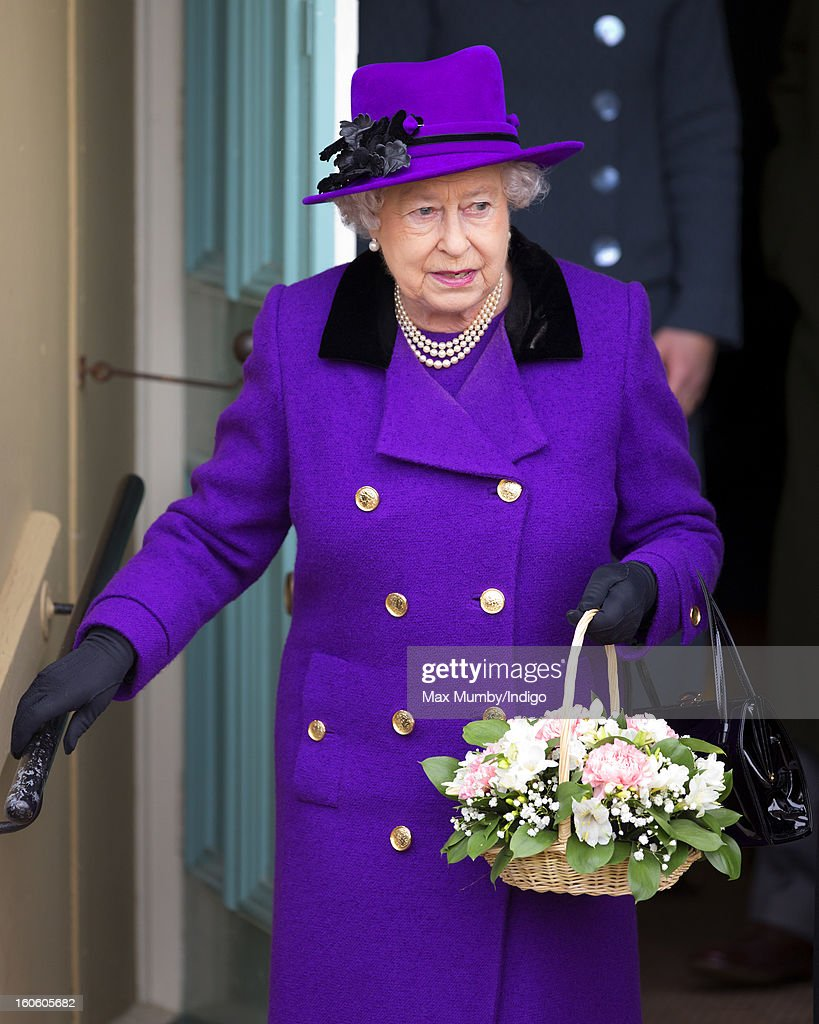 Queen Elizabeth II leaves West Newton Village Hall after attending Sunday service at the church of St Peter and St Paul in West Newton on February 03, 2013 near King's Lynn, England.