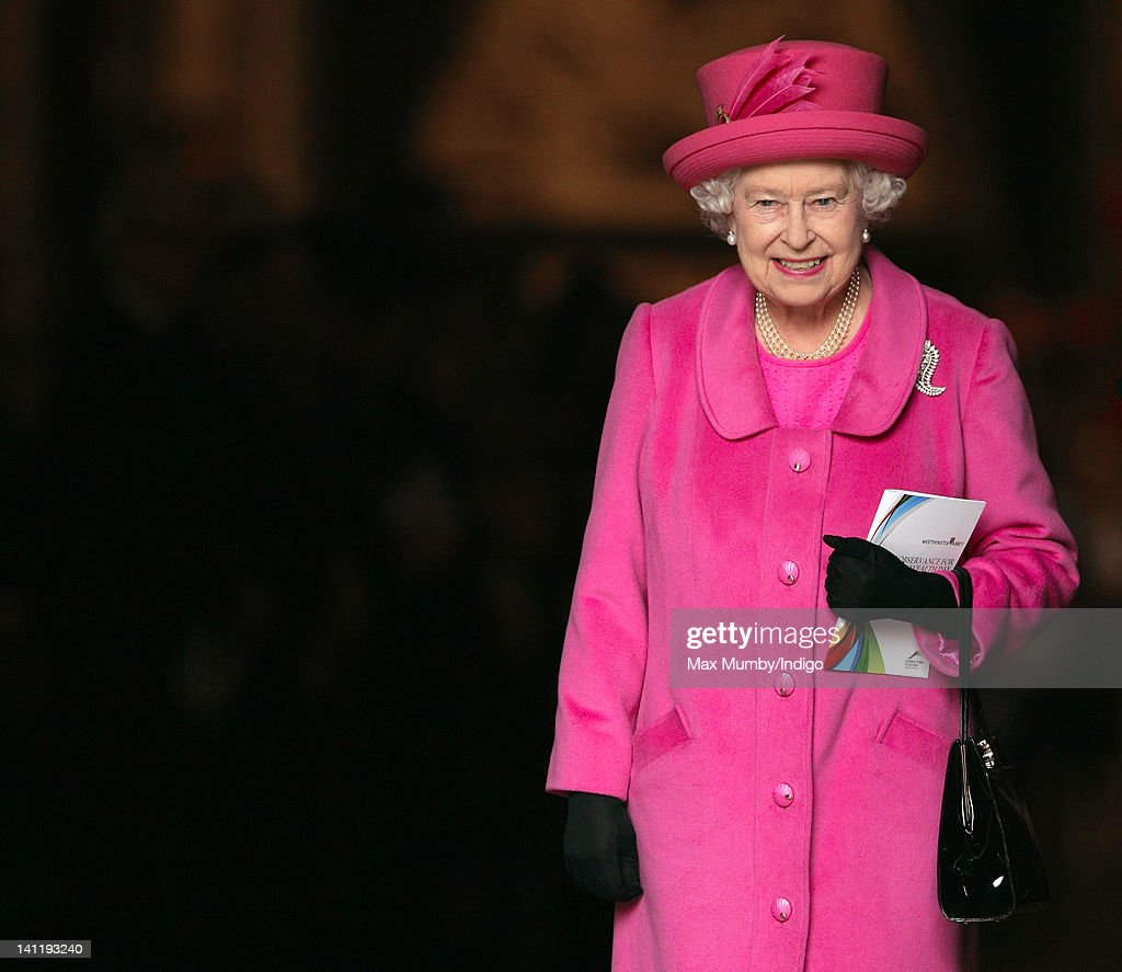Queen <a gi-track='captionPersonalityLinkClicked' href=/galleries/search?phrase=Elizabeth+II&family=editorial&specificpeople=67226 ng-click='$event.stopPropagation()'>Elizabeth II</a> leaves Westminster Abbey after attending the annual Commonwealth Day Observance Service on March 12, 2012 in London, England.