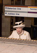 Queen Elizabeth II leaving after an official visit to Baker Street Underground Station on March 20 2013 in London England