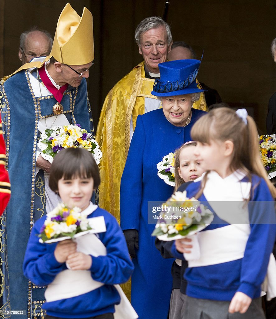 Queen Elizabeth II leaving Christs Church Cathedral in Oxford after The Royal Maundy Service on March 28, 2013 in Oxford, England.