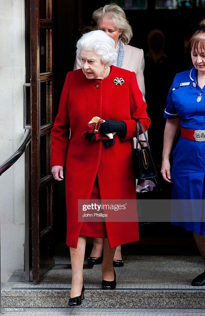 Queen Elizabeth II leaving the King Edward VII Hospital on March 4, 2013 in London, England.