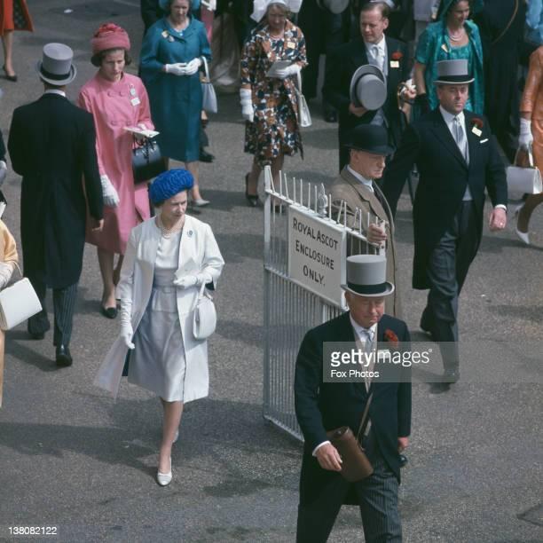 Queen Elizabeth II leaving the Royal enclosure at Ascot Racecourse Berkshire June 1963