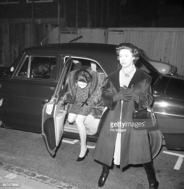 Queen Elizabeth II left and her sister Princess Margaret right arriving to visit the Queen Mother after her operation for appendicitis at the King...