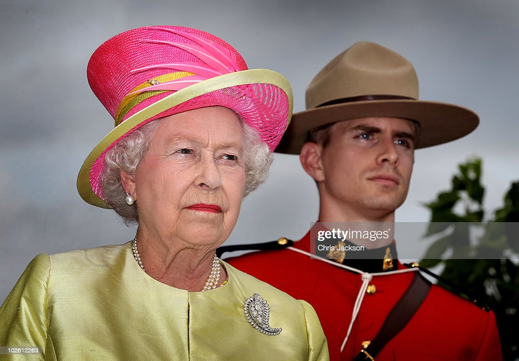 Queen <a gi-track='captionPersonalityLinkClicked' href=/galleries/search?phrase=Elizabeth+II&family=editorial&specificpeople=67226 ng-click='$event.stopPropagation()'>Elizabeth II</a> looks on as she arrives at the site for Canadian Museum of Human Rights on July 3, 2010 in Winnipeg, Canada. The Queen and Duke of Edinburgh are on an eight day tour of Canada starting in Halifax and finishing in Toronto. The trip is to celebrate the centenary of the Canadian Navy and to mark Canada Day. On July 6th The royal couple will make their way to New York where the Queen will address the UN and visit Ground Zero.