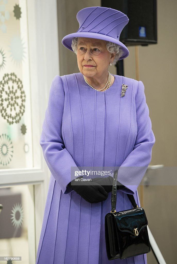 Queen Elizabeth II looks on during her tour to open the new Royal London Hospital building and the new National Centre for Bowel Research and Surgical Innovation on February 27, 2013 in London, England.