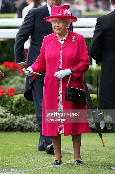 Queen Elizabeth II looks on in the parade ring on day 1 of Royal Ascot at Ascot Racecourse on June 16 2015 in Ascot England