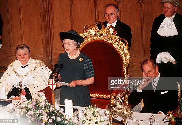 Queen Elizabeth II makes a speech at Guildhall on her 40th Anniversary in 1992 the 'Annus Horribilis'