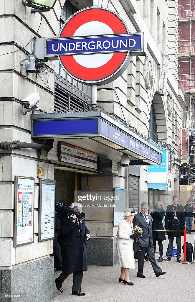 Queen <a gi-track='captionPersonalityLinkClicked' href=/galleries/search?phrase=Elizabeth+II&family=editorial&specificpeople=67226 ng-click='$event.stopPropagation()'>Elizabeth II</a> makes an official visit to Baker Street Underground Station on March 20, 2013 in London, England.