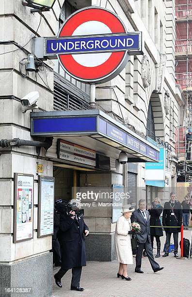 Queen Elizabeth II makes an official visit to Baker Street Underground Station on March 20 2013 in London England