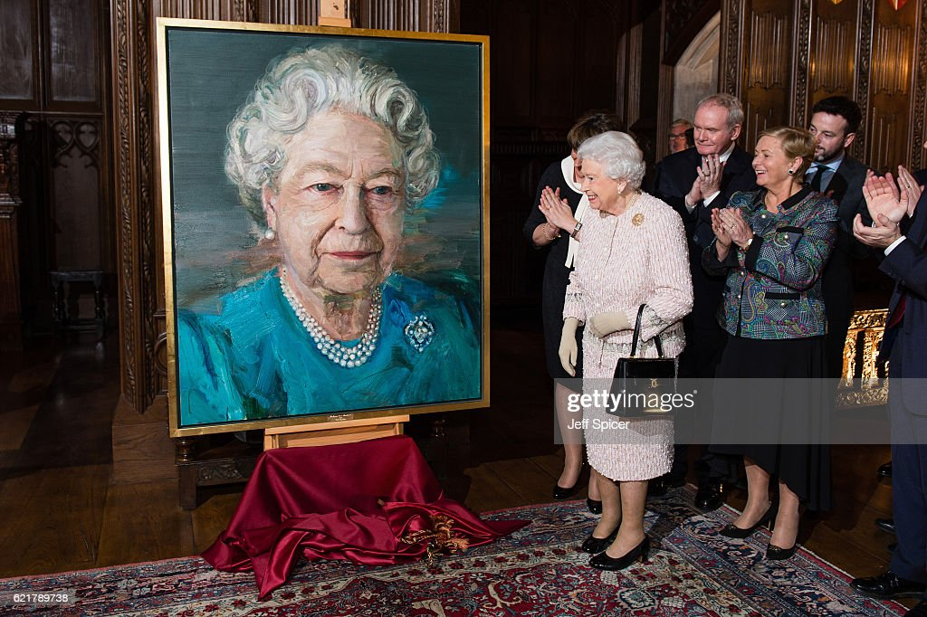 Queen Elizabeth II, Martin McGuinness, Deputy First Minister of Northern Ireland, and Frances Fitzgerald, Minister of Justice and Equality Gov of Ireland, attend a Co-Operation Ireland Reception at Crosby Hall on November 8, 2016 in London, England. During the reception The Queen unveiled a portrait of herself by artist Colin Davidson