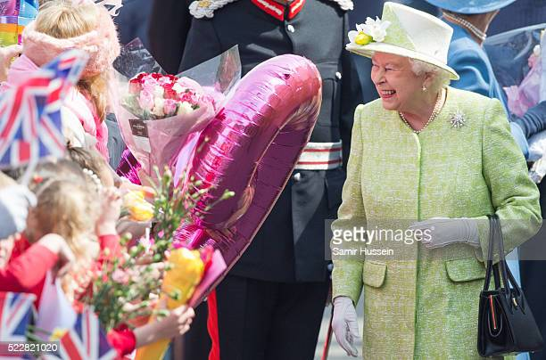 Queen Elizabeth II meet well wishers on a walk about around Windsor on her 90th Birthday on April 21 2016 in Windsor England