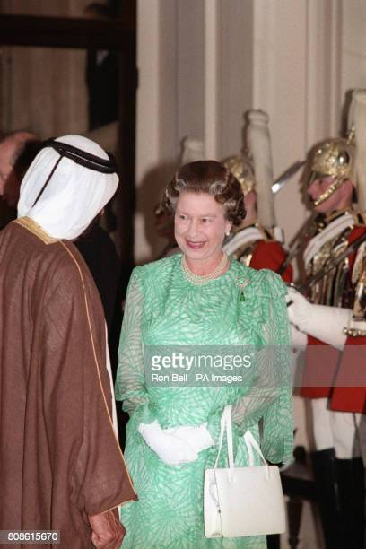 Queen Elizabeth II meeting Sheikh Zayed bin Sultan AlNahayan left President of the United Afrab Emirates at Buckingham Palace London