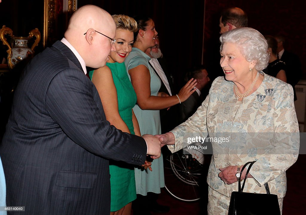 Queen Elizabeth II meets actors Sheridan Smith (C) and Matt Lucas (2nd L) during her reception to celebrate the patronages & affiliations of the Earl and Countess of Wessex at Buckingham Palace on February 10, 2015 in London, England