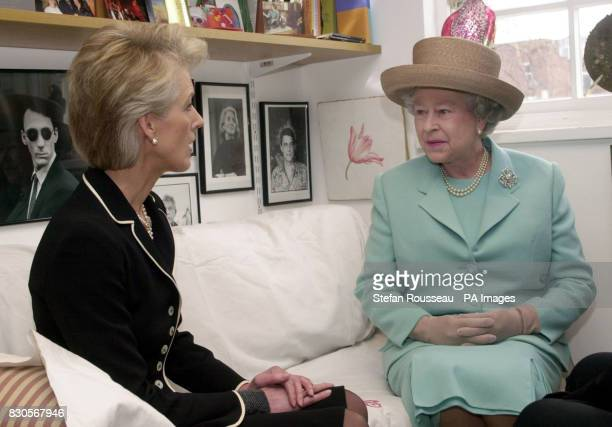 Queen Elizabeth II meets 'aga saga' novelist Joanna Trollope at Bloomsbury Publishing in London During the socalled royal 'theme day' the Queen and...