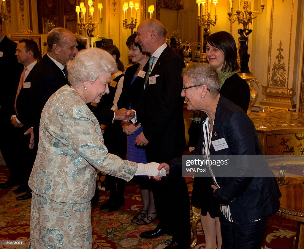 Queen <a gi-track='captionPersonalityLinkClicked' href=/galleries/search?phrase=Elizabeth+II&family=editorial&specificpeople=67226 ng-click='$event.stopPropagation()'>Elizabeth II</a> meets Bernie O'Roarke at the Irish Community Reception at Buckingham Palace on March, 25, 2014. The reception is in a advance of Ireland's President Michael D Higgins who will be the first Irish President to pay a state visit to Britain in April.