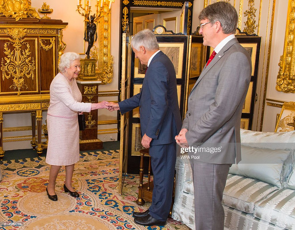 Queen Elizabeth II meets Chairman of the Board of Trustees of the Red Cross David Bernstein (C) and Red Cross Chief Executive Michael Adamson, at the unveiling of a portrait of her by British artist Henry Ward, marking six decades of patronage to the British Red Cross, which has been unveiled at Windsor Castle on October 14, 2016 in Windsor, England. The Queen is the longest-serving patron of the charity, which supports people in crisis in the UK and overseas.