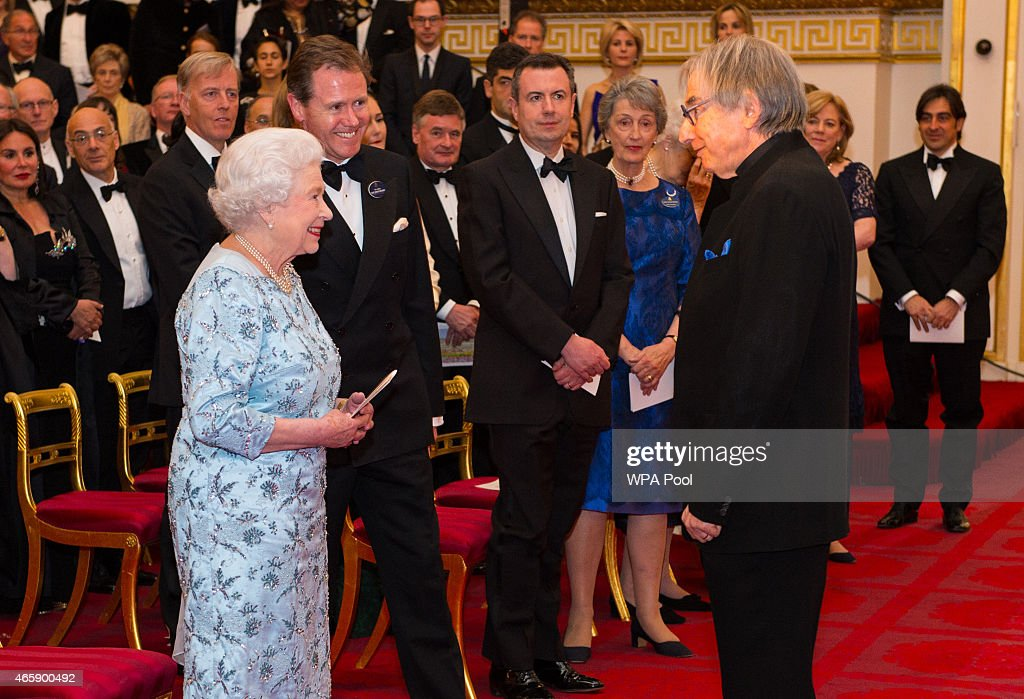 Queen Elizabeth II meets conductor Mr Michael Tilson Thomas, during a reception to mark the conclusion of the 'Moving Music' campaign and the long association of conductor Michael Tilson Thomas with the London Symphony Orchestra, at Buckingham Palace on March 11, 2015 in London, United Kingdom.
