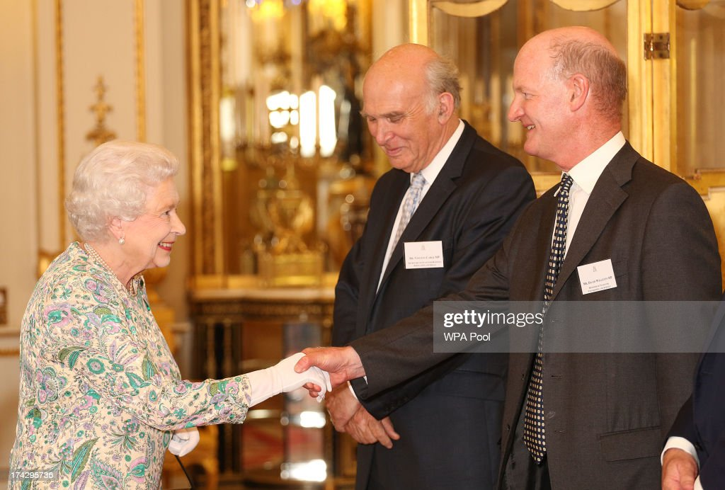 Queen <a gi-track='captionPersonalityLinkClicked' href=/galleries/search?phrase=Elizabeth+II&family=editorial&specificpeople=67226 ng-click='$event.stopPropagation()'>Elizabeth II</a> meets David Willetts, the Minister of State for Universities and Science, at a reception for the Winners of the Queens Award for Enterprise 2013 at Buckingham Palace in London. Tuesday July 23, 2013.