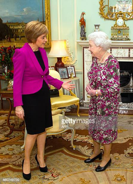 Queen Elizabeth II meets First Minister of Scotland Nicola Sturgeon at Buckingham Palace in London on December 10 2014 The 44yearold former lawyer...