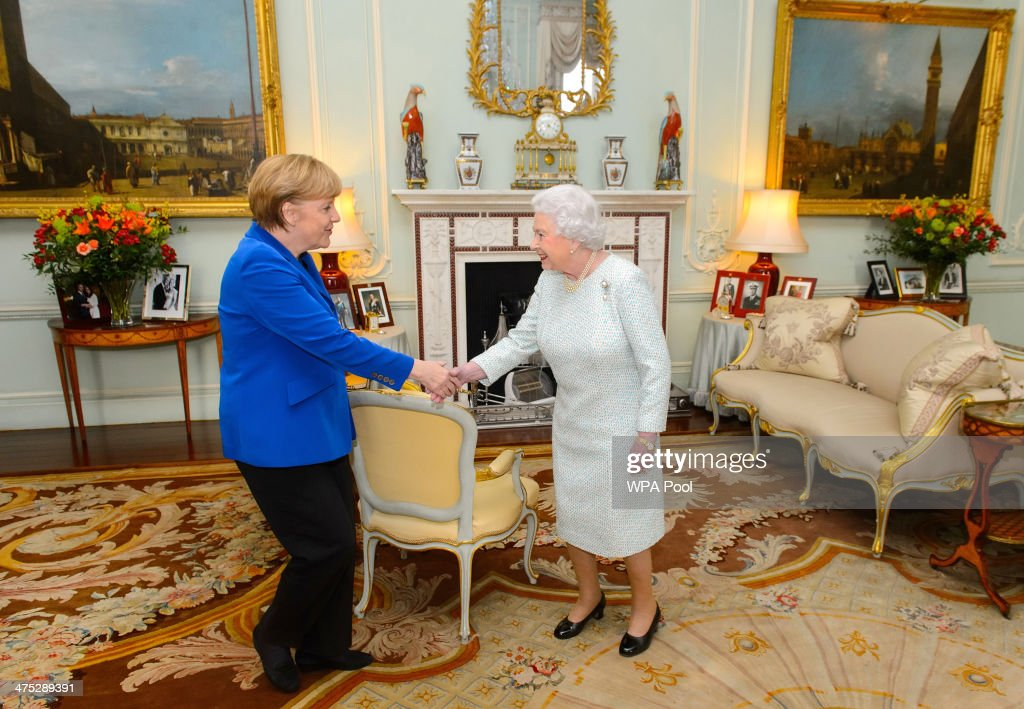 Queen <a gi-track='captionPersonalityLinkClicked' href=/galleries/search?phrase=Elizabeth+II&family=editorial&specificpeople=67226 ng-click='$event.stopPropagation()'>Elizabeth II</a> meets German Chancellor <a gi-track='captionPersonalityLinkClicked' href=/galleries/search?phrase=Angela+Merkel&family=editorial&specificpeople=202161 ng-click='$event.stopPropagation()'>Angela Merkel</a> at Buckingham Palace on February 27, 2014 in London, England. Merkel is on a one-day visit to the UK during which she will address a joint session of parliament and will also have tea with the Queen at Buckingham Palace.