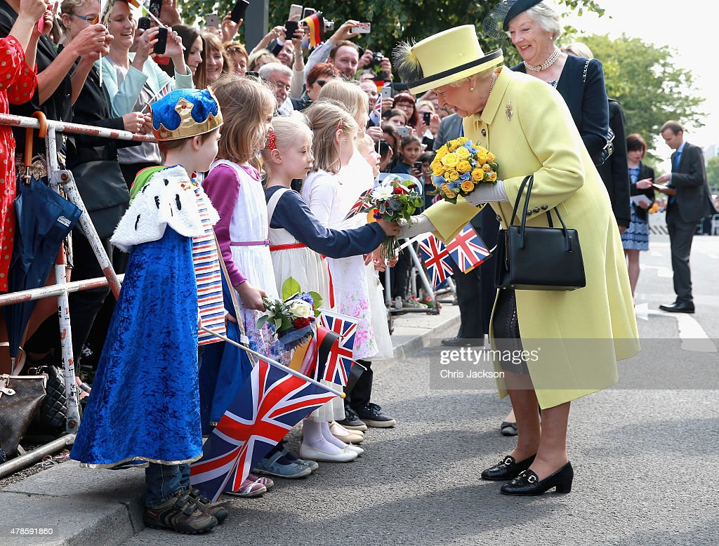 Queen Elizabeth II meets German children including Konrad Thelen aged 5 (dressed as a King) as she departs the Adlon Hotel on the final day of a four day State Visit to Germany on June 26, 2015 in Berlin, Germany.