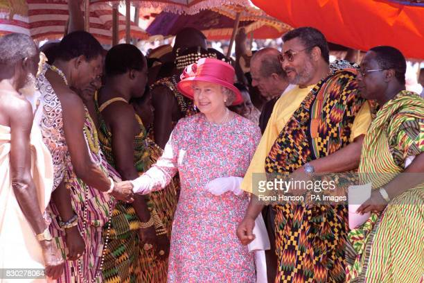 Queen Elizabeth II meets Ghanian regional chiefs at a Durbar held in her honour at the Parliament in Accra Ghana The Queen and her husband the Duke...