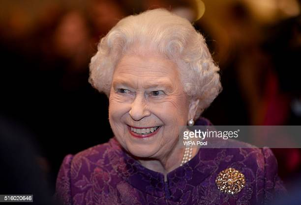 Queen Elizabeth II meets guests during a reception for the High Commissioners' Banquet to mark Commonwealth Week at the Guildhall on March 16 2016 in...
