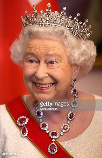 Queen Elizabeth II meets guests during a State Banquet at the Schloss Bellevue Palace on the second day of a four day State Visit on June 24 2015 in...