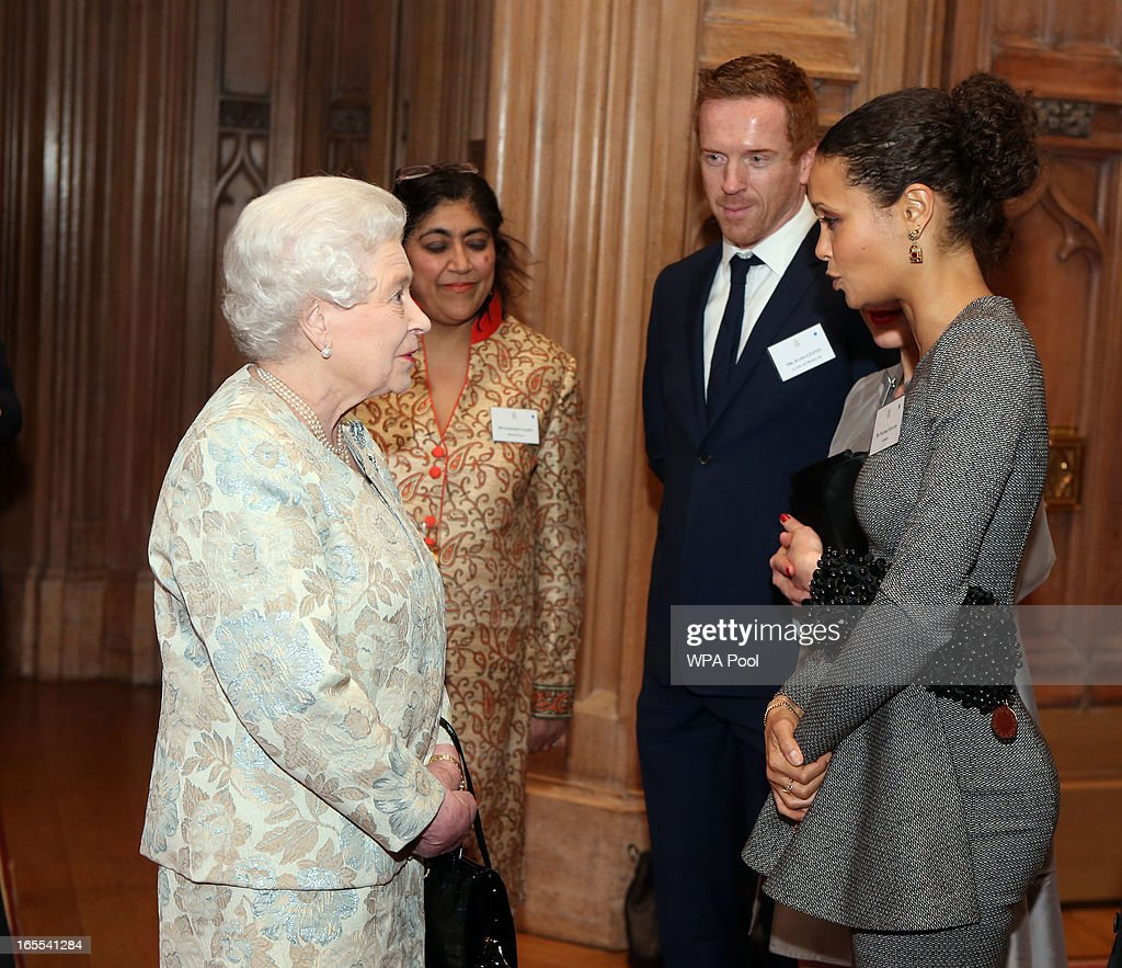 Queen <a gi-track='captionPersonalityLinkClicked' href=/galleries/search?phrase=Elizabeth+II&family=editorial&specificpeople=67226 ng-click='$event.stopPropagation()'>Elizabeth II</a> meets (from left) <a gi-track='captionPersonalityLinkClicked' href=/galleries/search?phrase=Gurinder+Chadha&family=editorial&specificpeople=238880 ng-click='$event.stopPropagation()'>Gurinder Chadha</a>, <a gi-track='captionPersonalityLinkClicked' href=/galleries/search?phrase=Damian+Lewis&family=editorial&specificpeople=206939 ng-click='$event.stopPropagation()'>Damian Lewis</a>, <a gi-track='captionPersonalityLinkClicked' href=/galleries/search?phrase=Helen+McCrory&family=editorial&specificpeople=214616 ng-click='$event.stopPropagation()'>Helen McCrory</a> and <a gi-track='captionPersonalityLinkClicked' href=/galleries/search?phrase=Thandie+Newton&family=editorial&specificpeople=210812 ng-click='$event.stopPropagation()'>Thandie Newton</a> at a reception for the British Film Industry at Windsor Castle on April 4, 2013 in Berkshire, England.