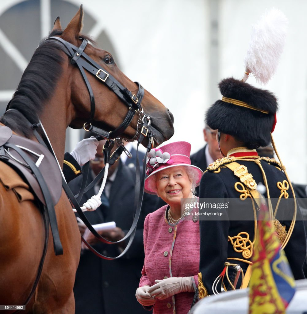 Queen Elizabeth II meets her former racehorse Knock Castle (which she gifted to the King's Troop Royal Horse Artillery) as she reviews the King's Troop Royal Horse Artillery during their 70th anniversary parade in Hyde Park on October 19, 2017 in London, England. The King's Troop Royal Horse Artillery (KTRHA) was formed by King George VI in October 1947 and are commonly known as the 'Gunners'.