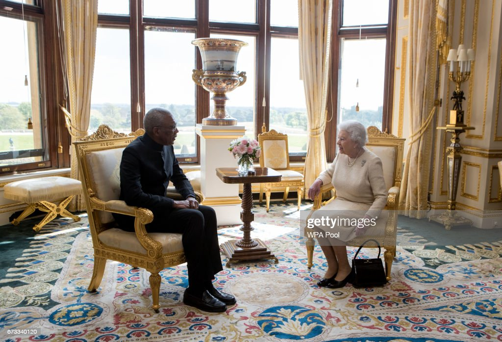 Queen Elizabeth II meets His Excellency David Granger, President of the Co-operative Republic of Guyana during a a private audience at Windsor Castle.