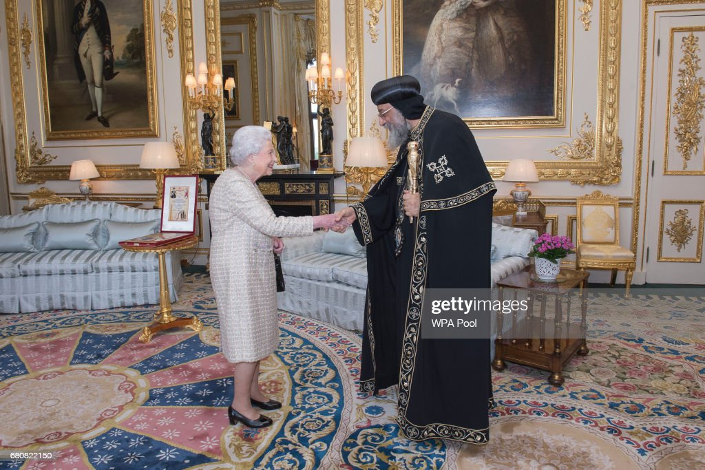 Queen Elizabeth II meets His Holiness Pope Tawadros II during a private audience at Windsor Castle on May 9, 2017 in Windsor, United Kingdom. Pope Tawadros II, 118th Pope of Alexandria and Patriarch of the See of Saint Mark, is making his first pastoral visit to the United Kingdom.