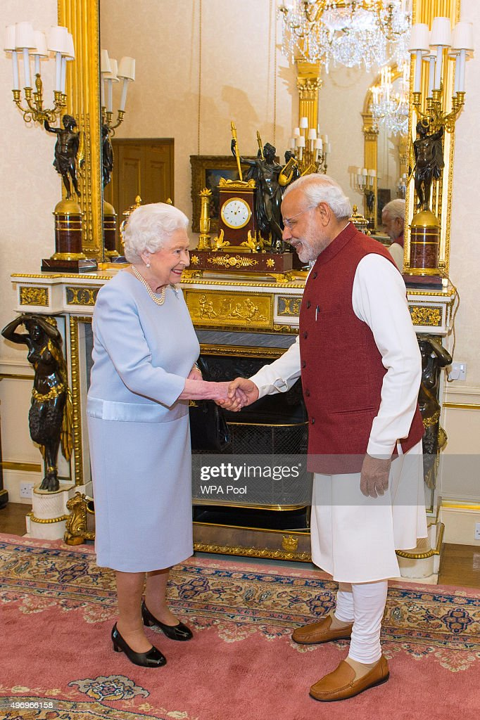 Queen Elizabeth II meets Indian Prime Minister Narendra Modi at Buckingham Palace on the second day of his visit to the UK on November 13, 2015, in London, England. In his first trip to Britain as Prime Minister Modi's visit will aim to develop economic ties between the two countries. In a busy schedule he is due to speak at Wembley Stadium, lunch with the Queen at Buckingham Palace, address Parliament and stay overnight at Chequers.
